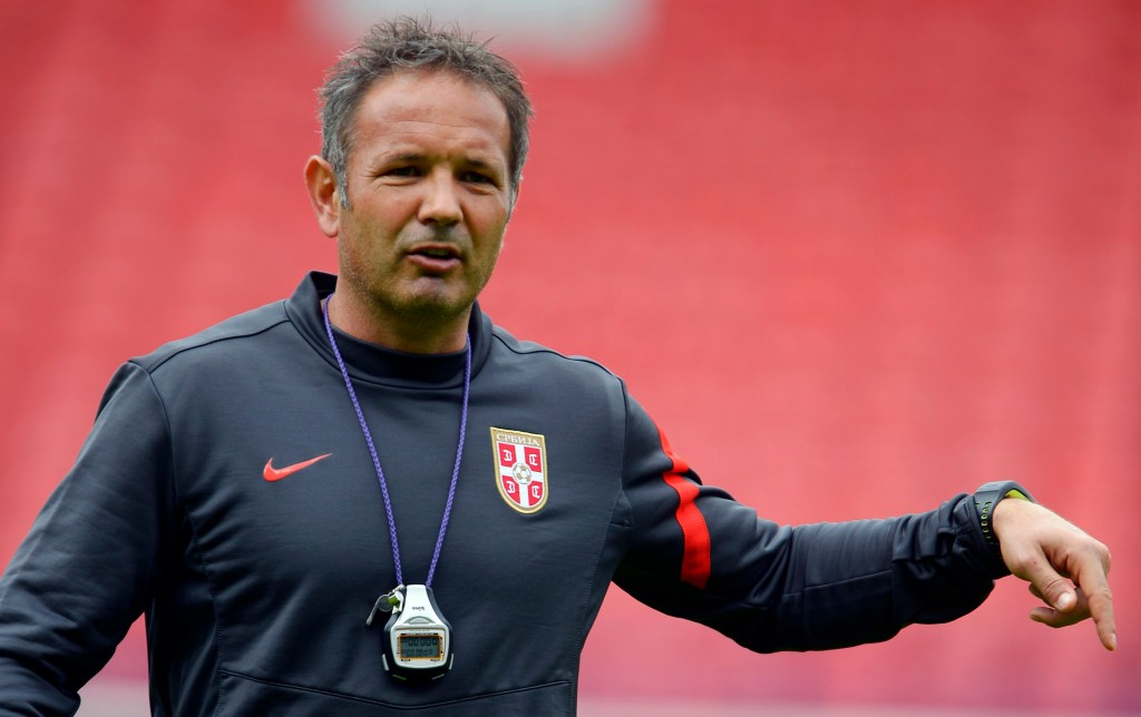 Serbia's national soccer team coach Sinisa Mihajlovic conducts a training session at Hampden Park Stadium in Glasgow