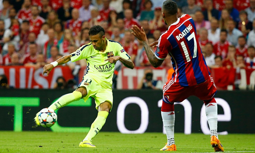 Barcelona's Neymar scores his second goal against Bayern Munich in the Champions League semi-final